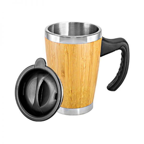 Mug de Bamboo con Asa Plástica